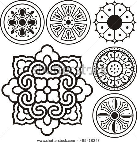 Korean Traditional Symbol Vector Image Korean Tradition Flower
