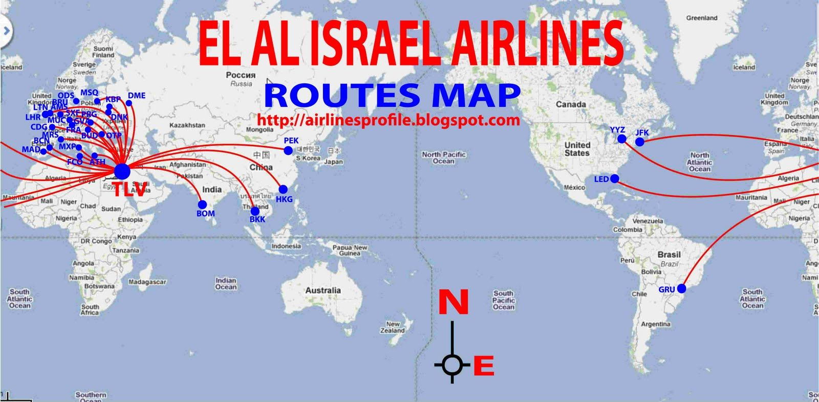 El Al Israel Airlines Routes Map Route map, Airlines, Route