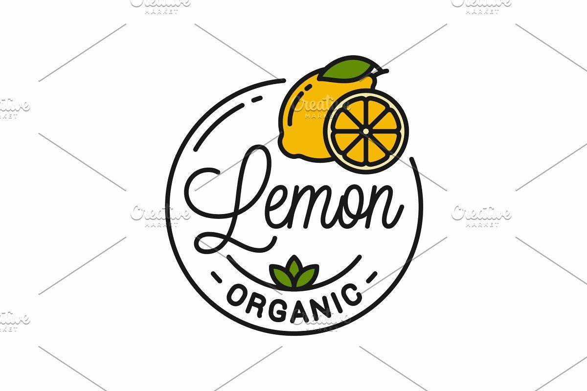 Photo of Lemon fruit logo. Round linear logo.  Custom-Designed Illustrations