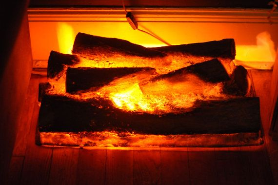 Vintage Faux Fireplace Log Light Fake Burning Logs My