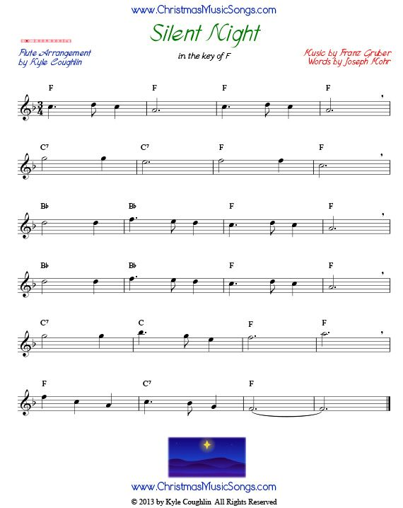 Silent Night Sheet Music For Flute With Images Silent Night