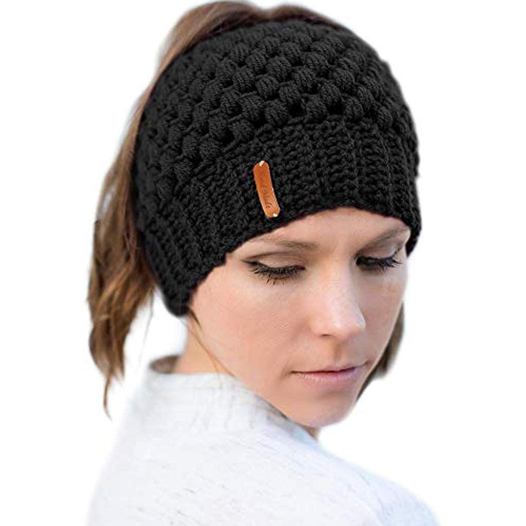 Mode Damen Wintermütze Beanie Pferdeschwanz Pferdeschwanz Beanie Hüte Mütze Hut