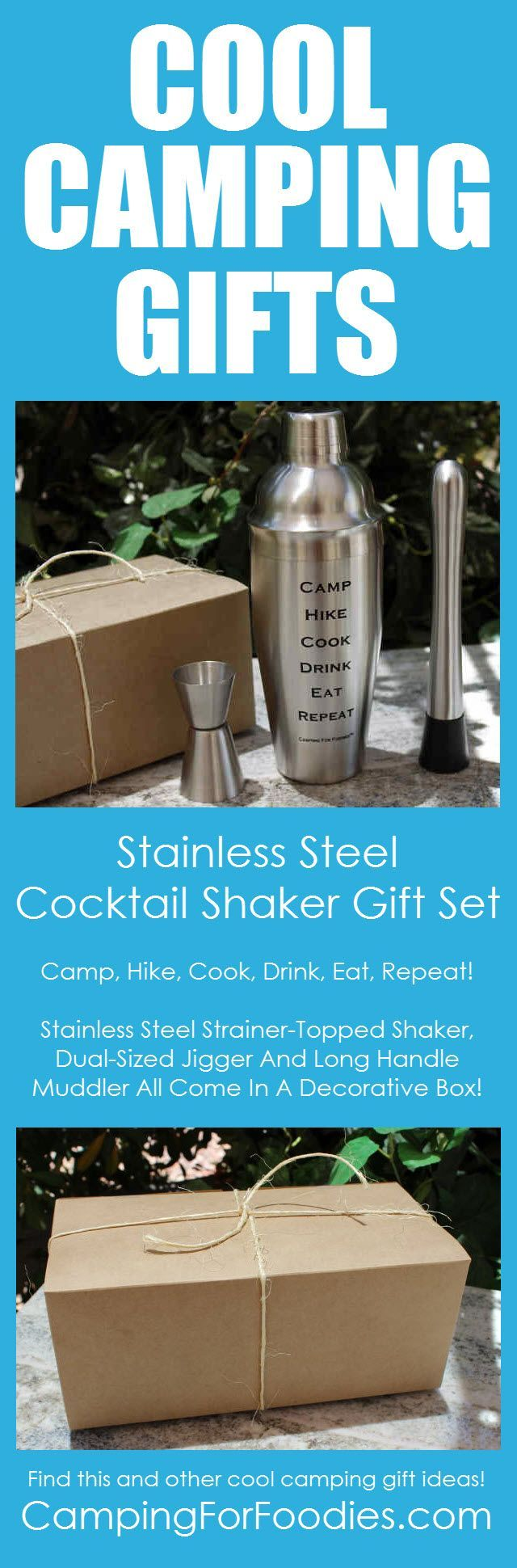 Cool Camping Gifts No Wrapping Necessary This Complete 5 Piece Stainless Steel Martini