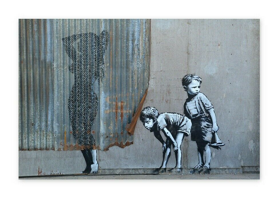 Banksy Framed Canvas Street  graffiti Urban  Art Print  boy taking photo