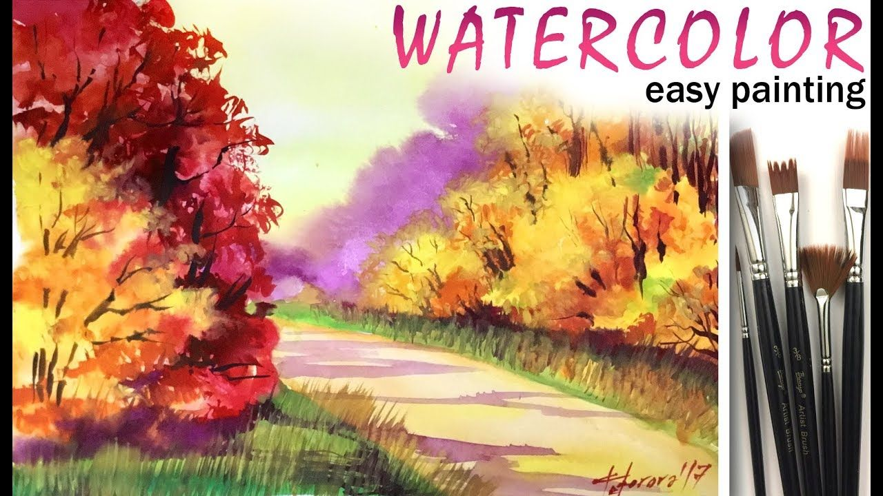 Watercolors How To Paint Autumn Forest Landscape Tree Painting