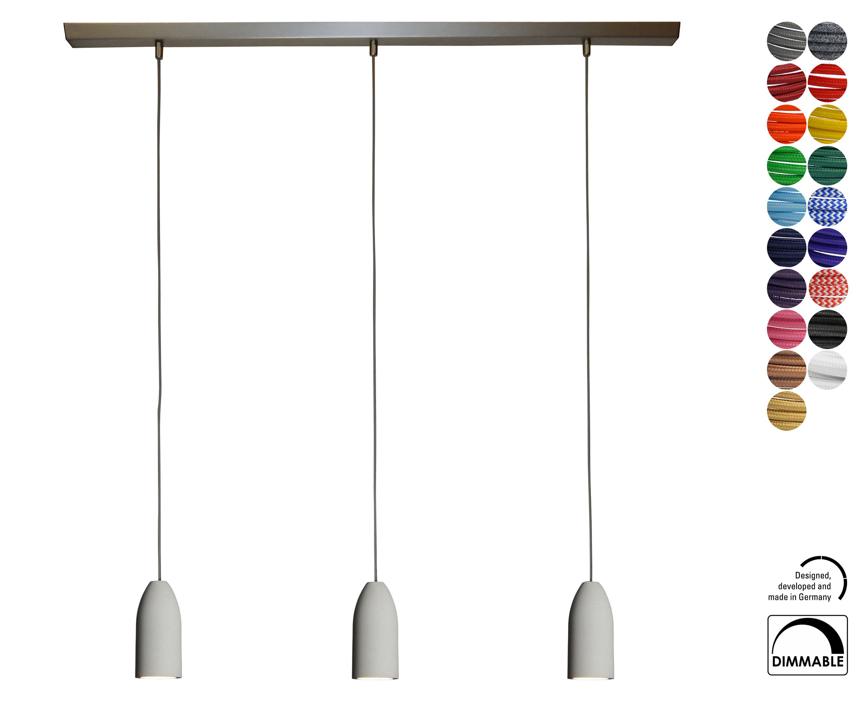 Concrete Lamp With Textile Cord Grey 5 90 Ft Compatible To Usa Lamp Concrete Lamp Pendulum Lamp