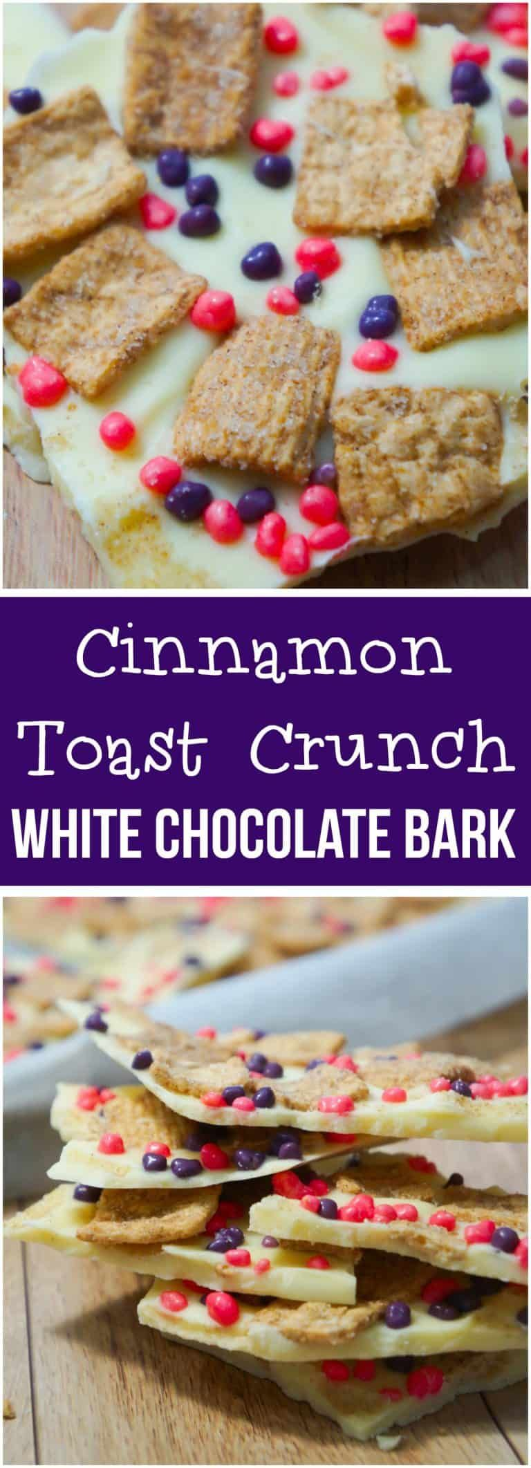 Cinnamon Toast Crunch White Chocolate Bark is an easy no bake dessert recipe. This bark is loaded with Cinnamon Toast Crunch cereal and Nerds candies. #cinnamontoastcrunch