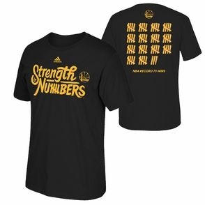 Golden State Warriors adidas Strength In Numbers 73 Wins Backside Tally Tee - Black