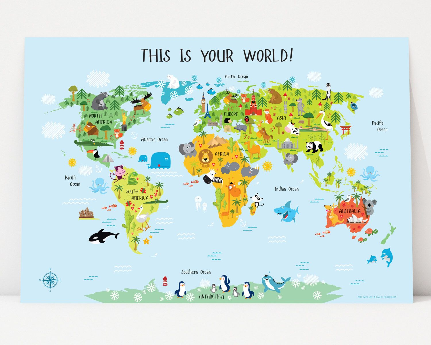 Printable Wall Art World Map Instant Download Nursery Decor - Printable childrens world map