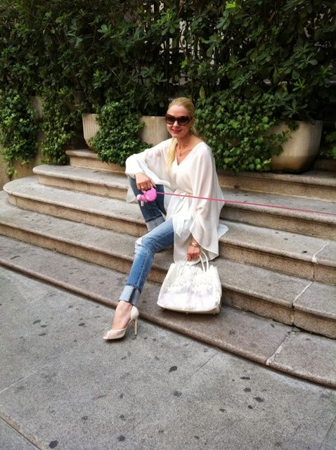 Shades: Marc Jacops, Top: Amen, Jeans: Victoria's Secret, Bag: Valentino, Shoes: Alfonso Garlando