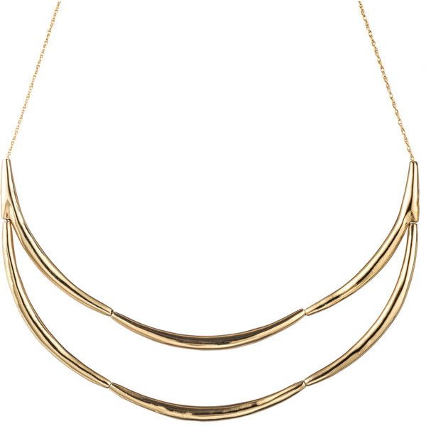 Alexis Bittar Liquid Gold Eternity Bib Necklace (£58) ❤ liked on Polyvore featuring jewelry, necklaces, gold jewellery, gold pendant jewelry, gold tone jewelry, gold tone necklace et pendants & necklaces