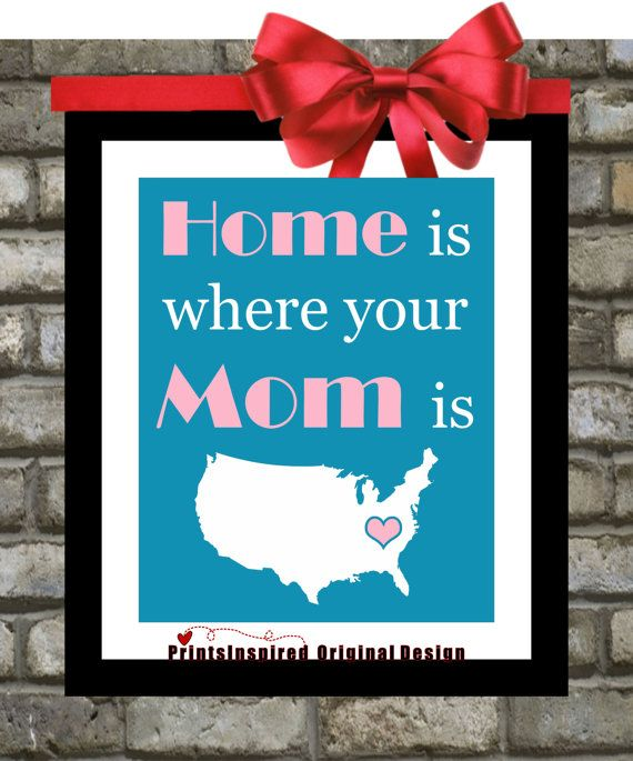 Mothers #Day #Gift: Home is where your #Mom is Print, Mother From ...