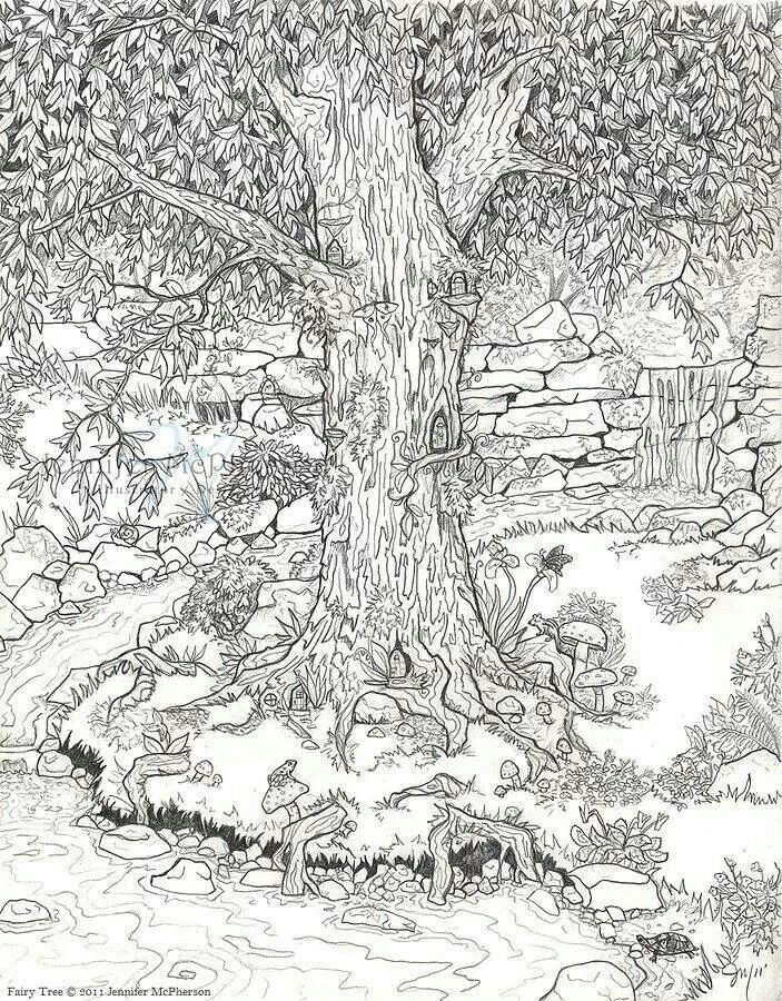 Fairy Tree Coloring Page Garden Coloring Pages Adult Coloring