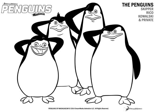 Free Printable Penguins of Madagascar Coloring Page  Printable