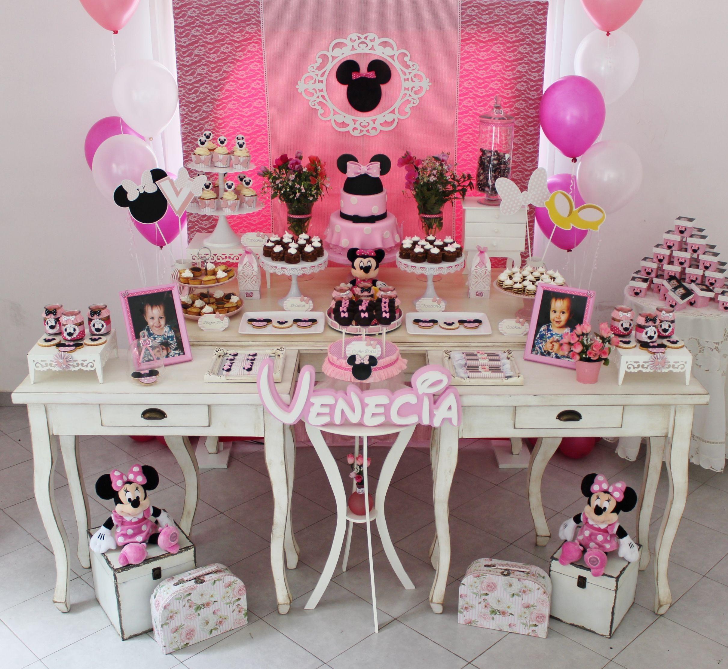Mesa Tematica Minnie Mouse Rosa Violeta Glace Decoracion Cumpleaños Minnie Decoracion De Cumpleaños Fiesta De Minnie Mouse