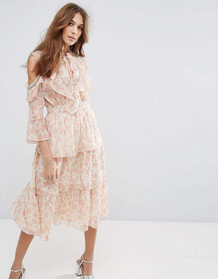 90785dc497bf Miss Selfridge Floral Printed Ruffle Dress - Multi by: Miss Selfridge @ASOS  (US) Dress by Miss Selfridge, Lightly-textured woven fabric, Semi-sheer  finish, ...