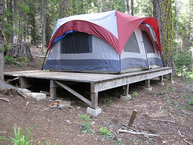 put the tent up on a platform campers in 2018 pinterest