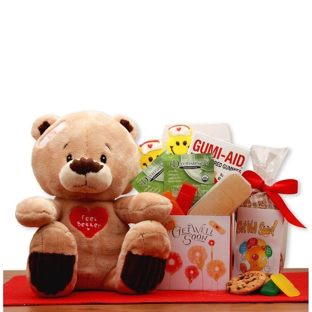 Get well soon teddy bear gift set brown teddy bear