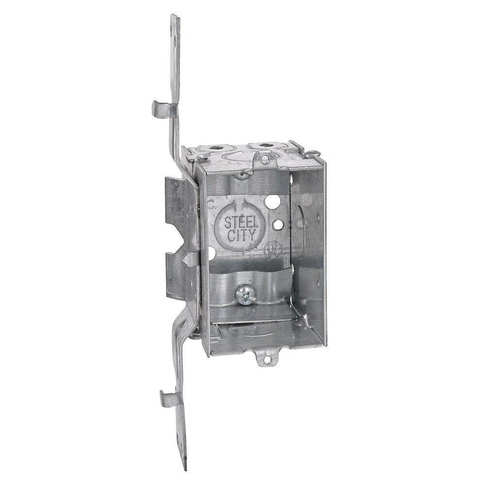 Steel City 1 Gang 3 In X 2 1 2 In New Work Metal Deep Switch And Outlet Electrical Box With Sv Clamp Case Of 25 Lxwsv 25r Metal Steel Conduit Box