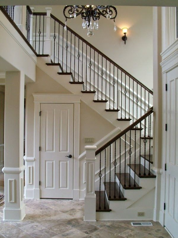 stairs, staircase update, stairwell, wrought iron baluster, lipstick on a pig, easy update, DIY,