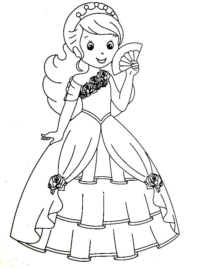 The Beautiful Princess In Her Fancy Dress Princess Coloring Princess Coloring Books