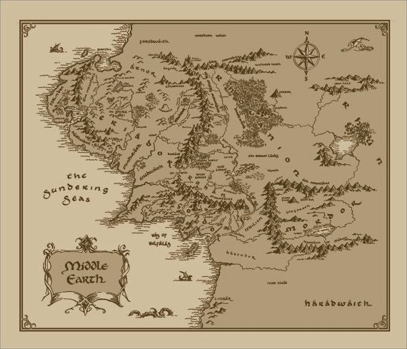 Fandom Tolkien Lord Of The Rings The Hobbit Print A Map Of
