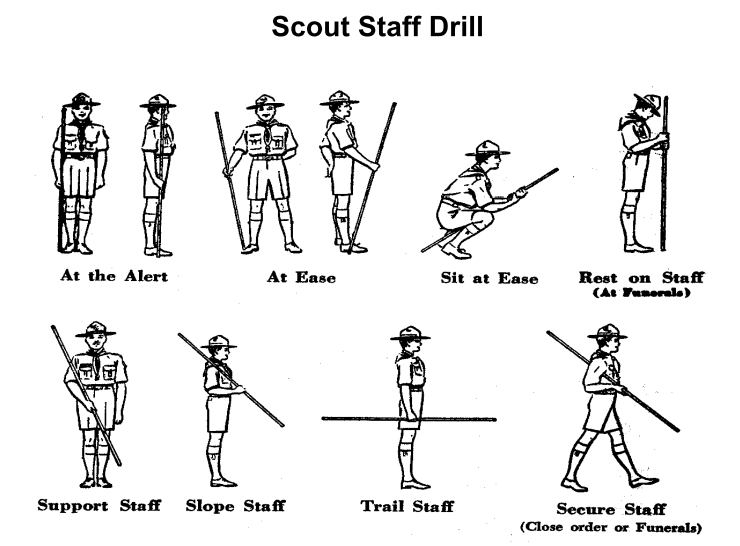 Basic positions which teach scouts awareness and control of thier when baden powell first conceived the idea of the boy scout part of the uniform that he designed included the hiking staff yes indeed he considered the fandeluxe