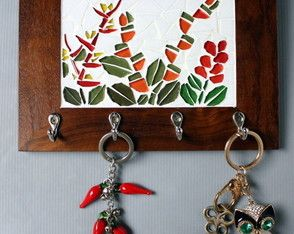Porta chaves mosaico Mata Atlântica