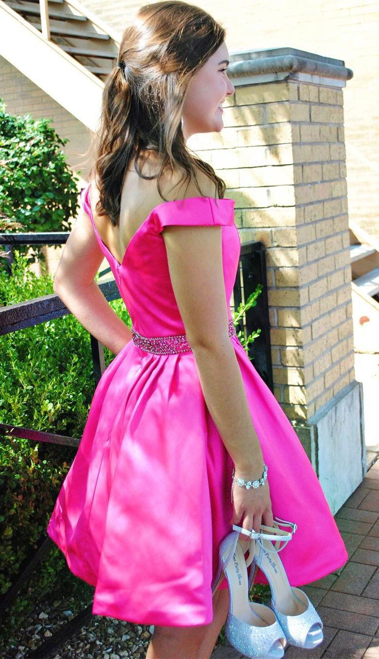 Hot pink homecoming dress  off the shoulder short hot pink homecoming dress  homecoming