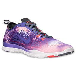 meet a0c16 a0634 Women s Nike Free 5.0 TR Fit 4 Print Training Shoes   FinishLine.com   White Purple  Venom Laser Crimson
