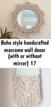 Boho style handcrafted macrame wall decor (with or without mirror) 17, ,  #Boho #Decor #Handc..., #Boho #Decor #Handc #Handcrafted #Macrame #mirror #Style #Wall