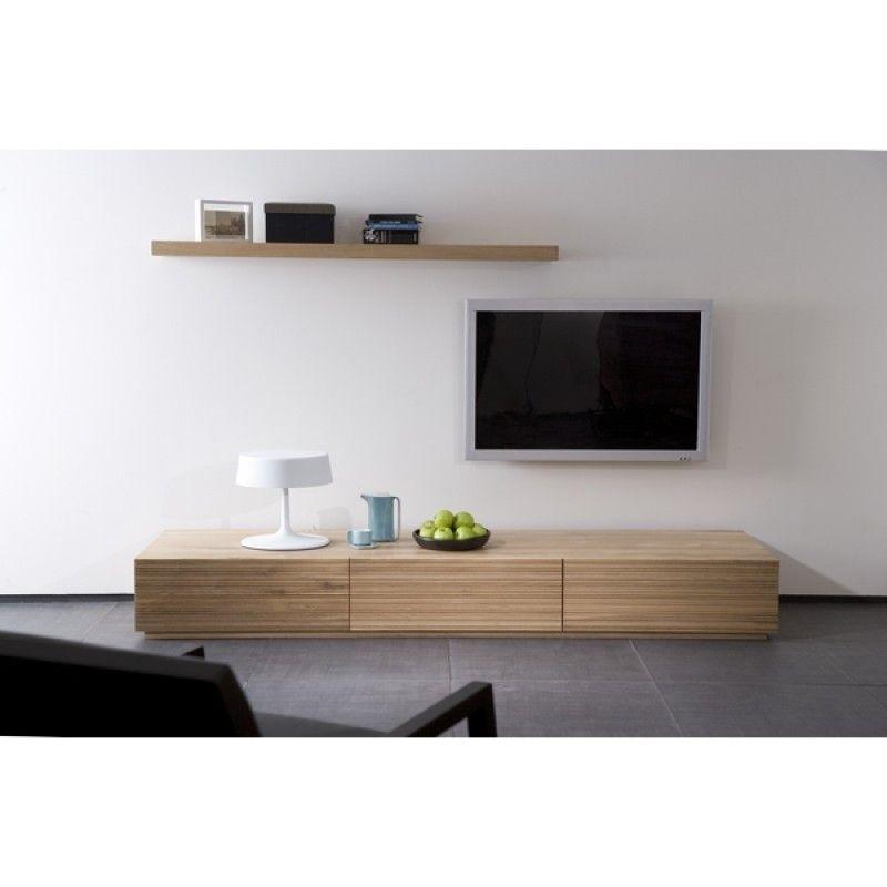 Meuble TV Chªne Stonecut Ethnicraft 2 tiroirs 1 porte 1