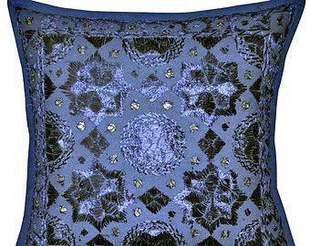 Dark Blue Mirror work Throw Pillow, Handmade Indian Mirror Work Pillow, Decorati Dark Blue
