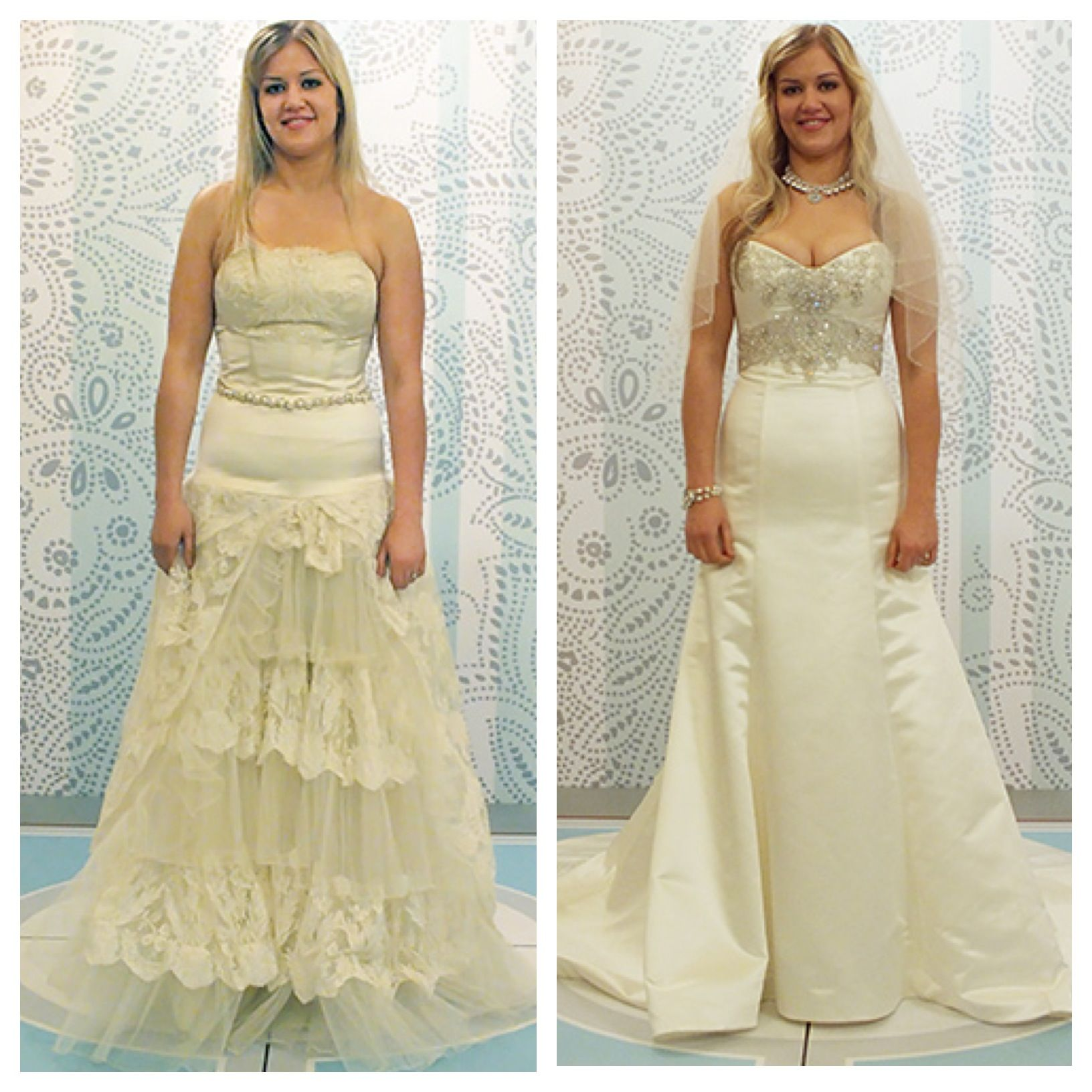 borrow wedding dress Left something borrowed Right something new Click to see which dress she
