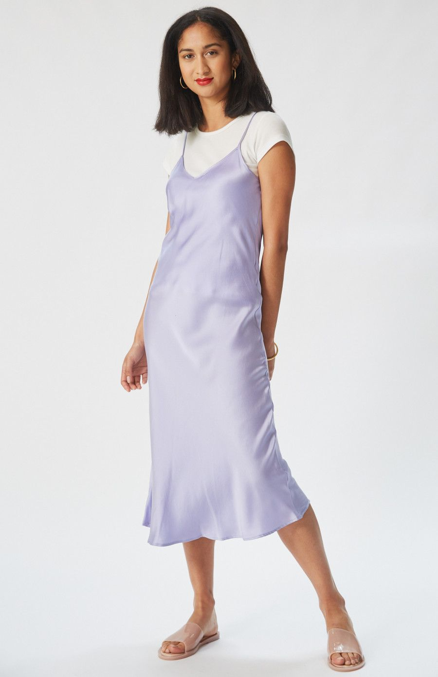 3f1387d89595 '90s Silk Slip Dress in Lavendar, ethically-made in a transparent supply  chain, and the perfect special event dress.