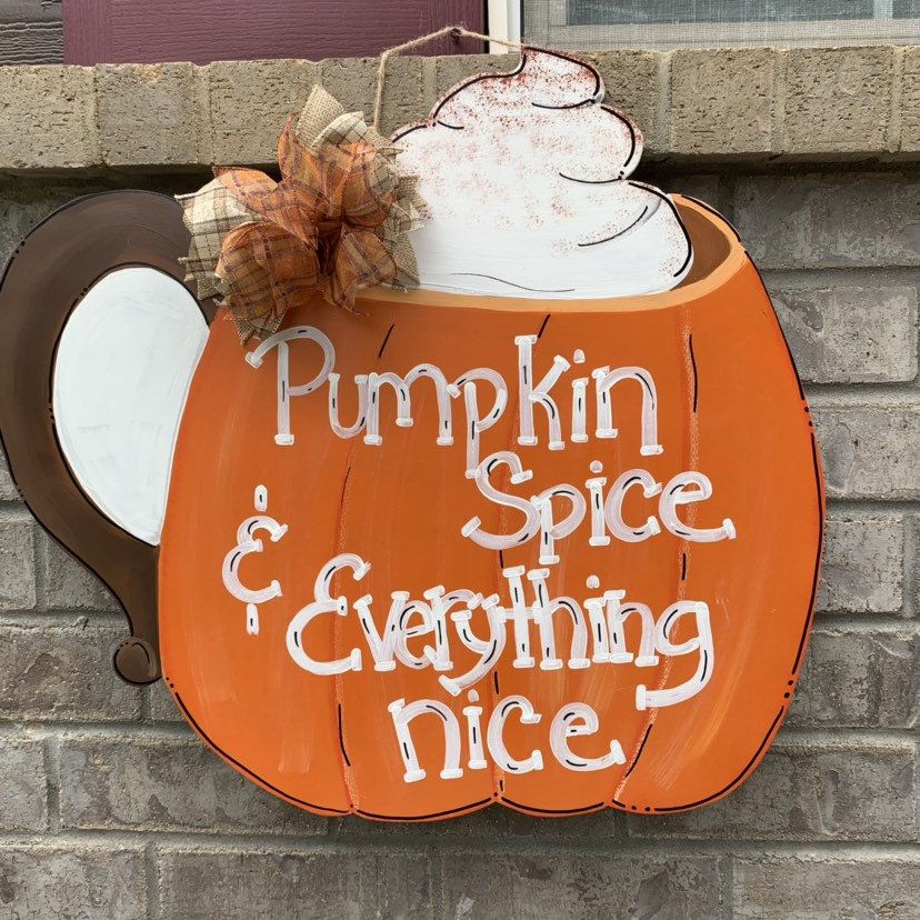 Fall door hanger, pumpkin door hanger, pumpkin spice door hanger, fall decor