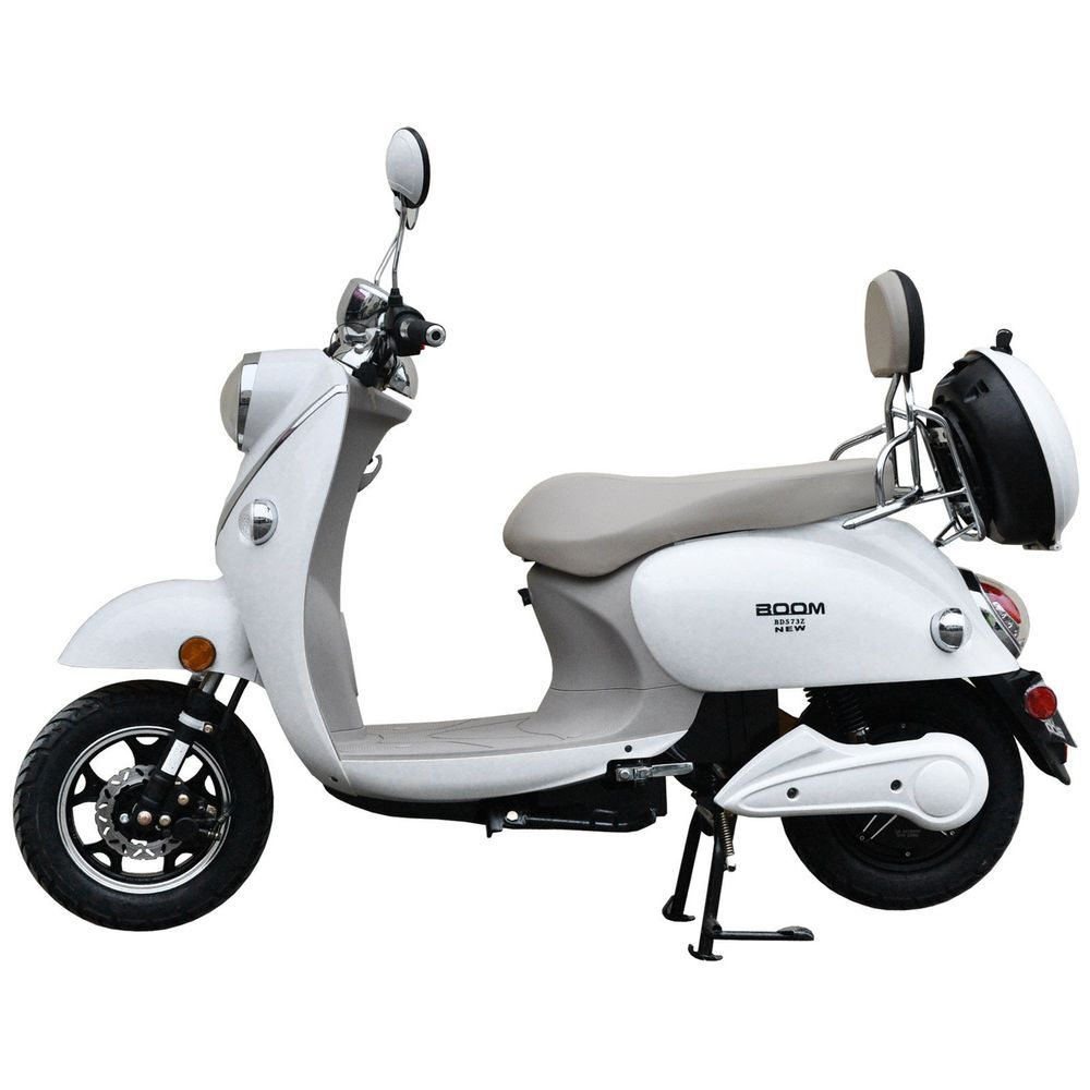 Boom 800w 48v Electric Moped Scooter 573n Brushless Motor White Electric Moped Scooter Electric Moped Moped Scooter