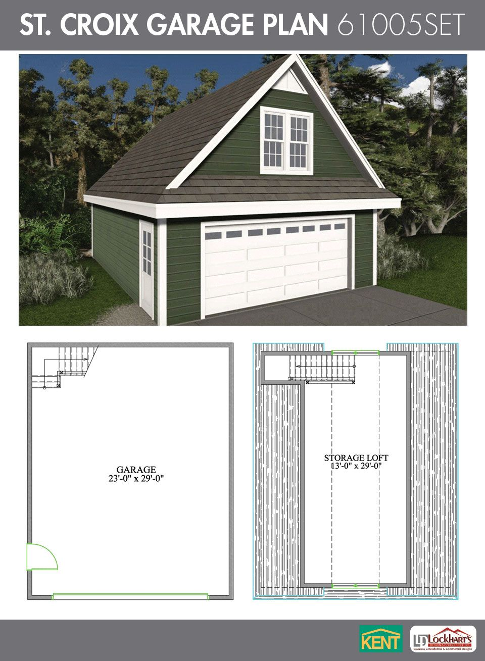 St croix garage plan 24 39 x 30 39 2 car garage 551 sq ft for Garage plans with bonus room