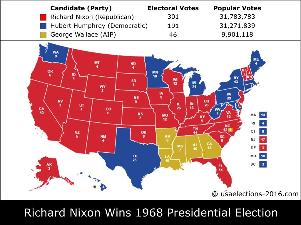 Presidential Election Result Richard Nixon Republican - Us election results electoral map