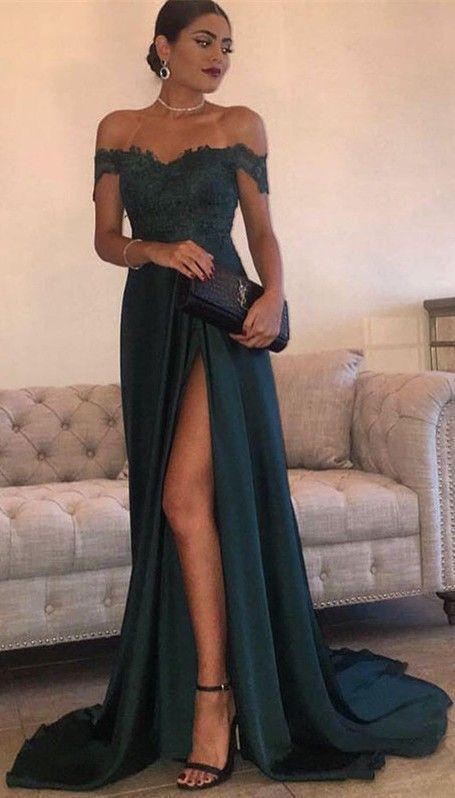 Elegant Dark Green Evening Gowns Off-the-Shoulder Side Split Prom Dresses #dresseseveryoccasion