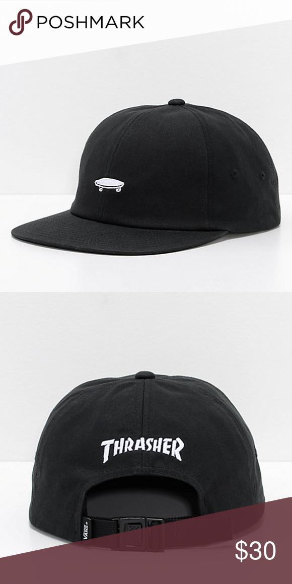Vans x Thrasher Jockey 6 Panel Mens Hat Jockey 6 Panel Black Strapback Hat de5f44473d4