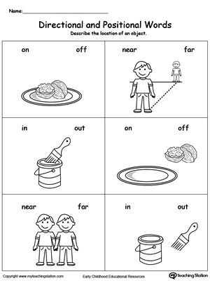 Directional And Positional Words Maths Pinterest Worksheets