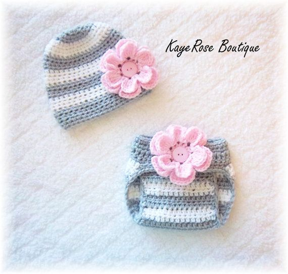 Newborn Baby Girl Crochet Flower Hat & Diaper Cover Set Pink Gray ...