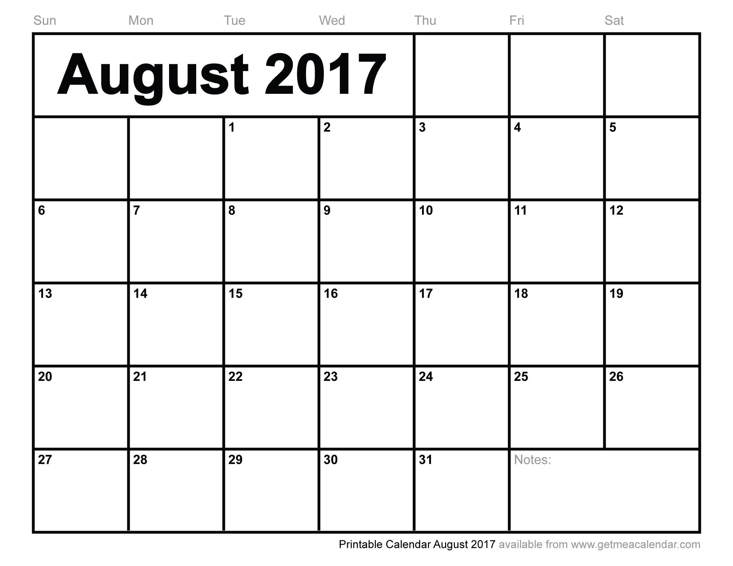 august 2017 printable calendar pdf
