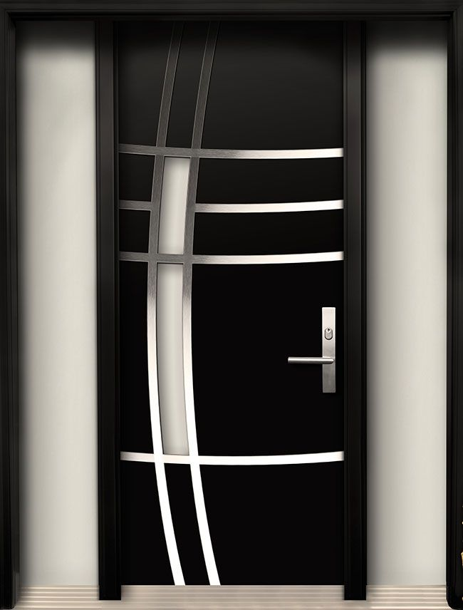Modern contemporary door modern wood door with stainless for Modern entrance door design
