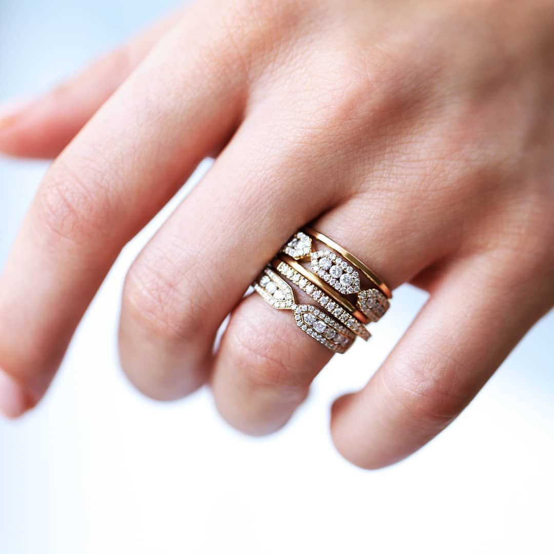 Skinny yellow gold rings mixed with the #infini #firenzetrio ...
