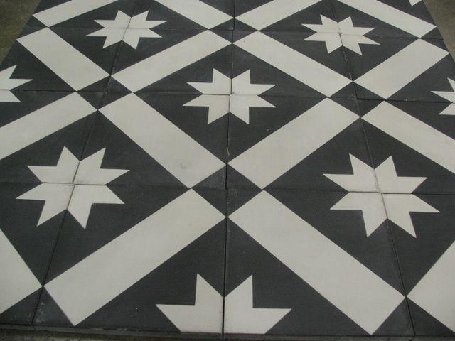 STARZ 3 Black Version  20x20 cm Close Up Portugese tegels/cementtegels www.floorz.nl/portugese-tegels