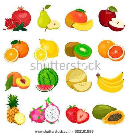 Set of fruits isolated on a white background. Vector image.