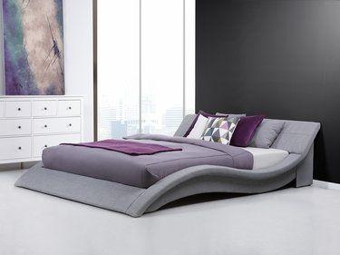 1f9171a91c2988 Lit design en tissu - lit double 180x200 cm - sommier inclus - Vichy - gris