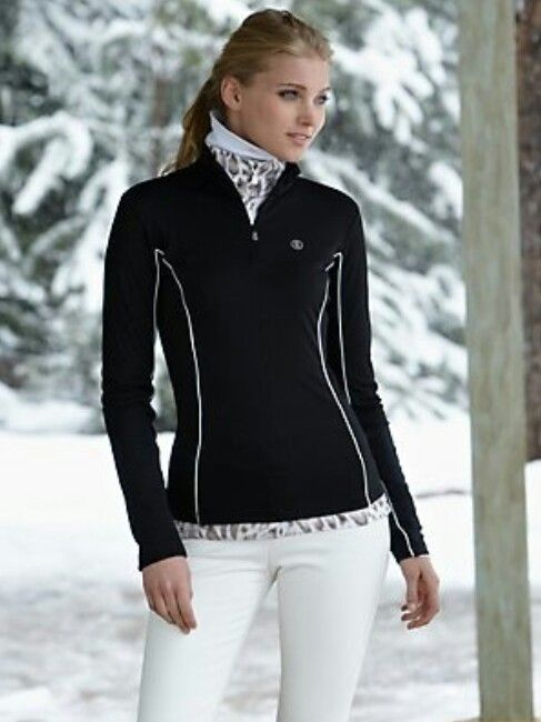 Winter outfit. Ski clothes. White pants, black jacket ...